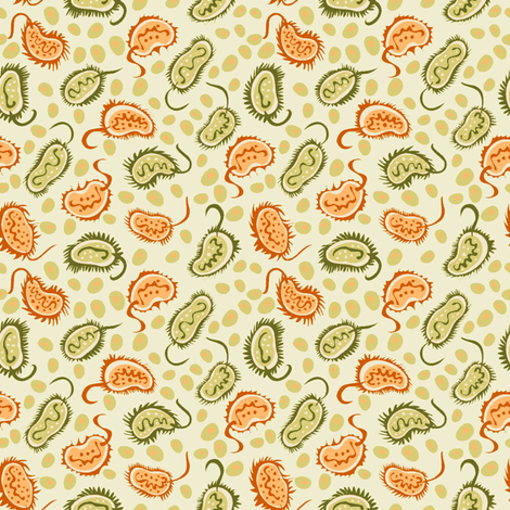Petri Dish Ditsy Gold and Green fabric by fussypants on Spoonflower - custom fabric