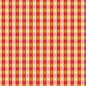 A subtle red to gold plaid turns up stripes