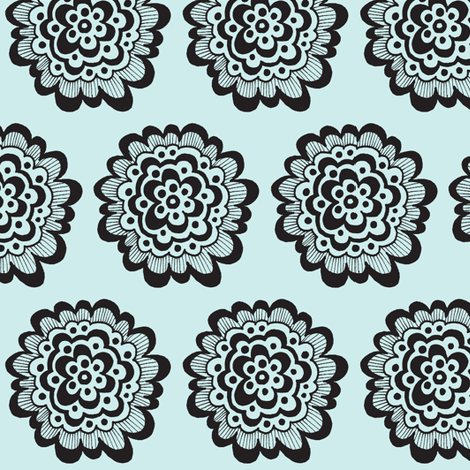 Flor - Black on Blue fabric by toni_elaine on Spoonflower - custom fabric