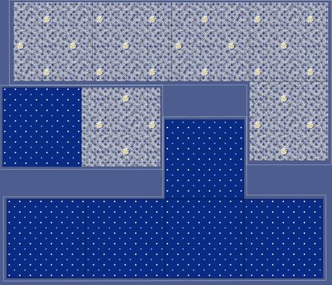 Giftbox - Blue Daisy fabric by glimmericks on Spoonflower - custom fabric