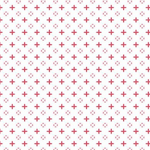 Ditsy print in a deep Christmas red on white