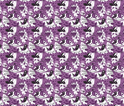 Birds in purple fabric by bora on Spoonflower - custom fabric