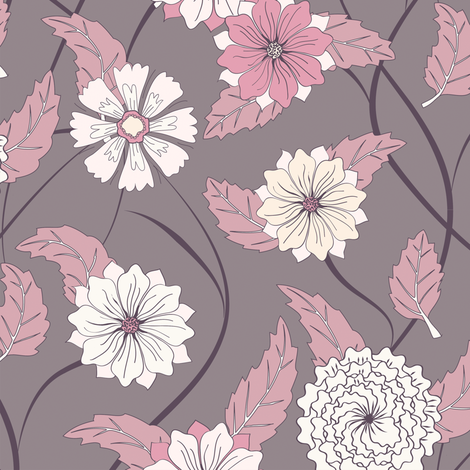 Twisting Floral fabric by kezia on Spoonflower - custom fabric