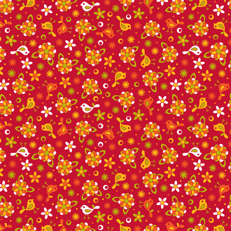 Happy little ditsy red fabric by cjldesigns on Spoonflower - custom fabric