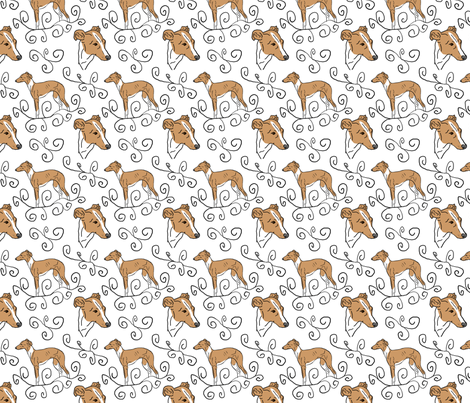 Italian Greyhound Elegance fabric by rusticcorgi on Spoonflower - custom fabric