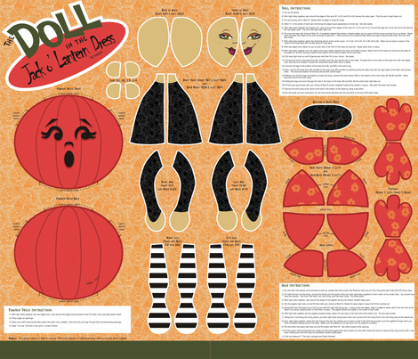 The Doll in the Jack o' Lantern Dress! fabric by lulakiti on Spoonflower - custom fabric