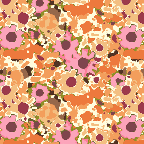 Claude's Autumn Orange Floral fabric by inscribed_here on Spoonflower - custom fabric