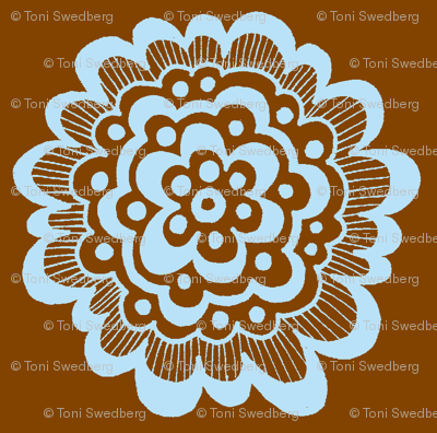 Flor - Blue on Brown