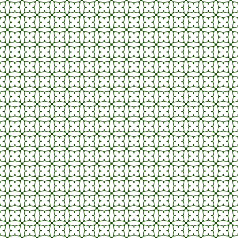 Circles and squares in deep emerald green on white fabric by bargello_stripes on Spoonflower - custom fabric