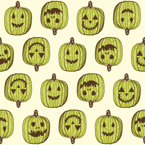 Happy Little Pumpkin Heads - Autumn Green fabric by inscribed_here on Spoonflower - custom fabric