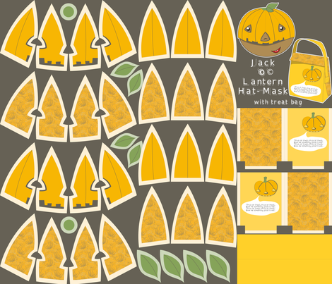 Jack'o'Lantern plushie hat-mask kit (with treat bag) fabric by majobv on Spoonflower - custom fabric