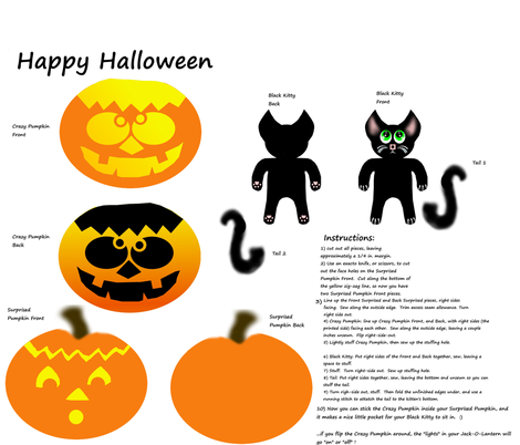 Pumpkin Stacker Jack O Lantern and Kitty Pattern