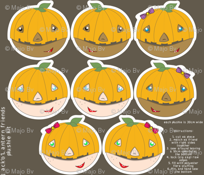 Jack'o'Lantern Friends plushie kit