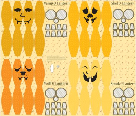 Four Pumpkin Pals fabric by drizzlydaydesignco on Spoonflower - custom fabric