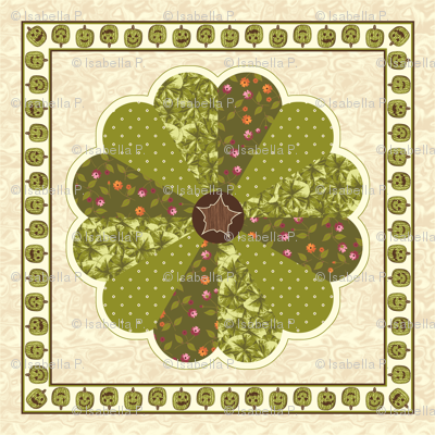 Plush Pumpkin Dresden Plate Quilt - Autumn Green