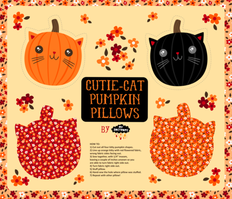 Cutie-Cat Pumpkin Pillows fabric by my_zoetrope on Spoonflower - custom fabric