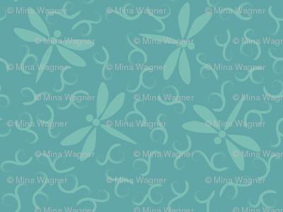 Ditsy Dragonflies minagreen & bluegreen