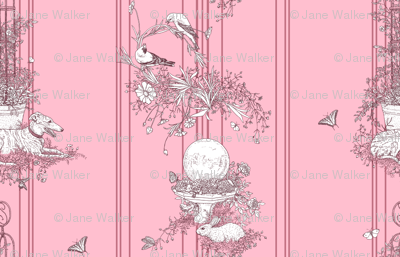 My Garden Toile Stripe Large Rose pink ©2011 by Jane Walker