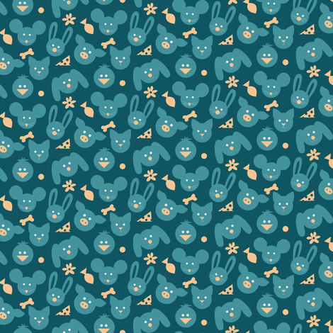 Ditsy Animals - Teal fabric by lulakiti on Spoonflower - custom fabric