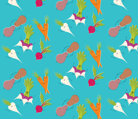 Root Vegetable Party (zoom for detail) fabric by amywalters on Spoonflower - custom fabric