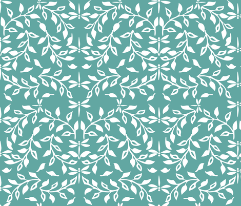 Leafy Field Arts & Crafts style fabric - white & soft-green with dragonflies fabric by mina on Spoonflower - custom fabric