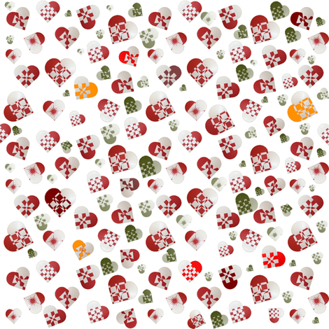 Ditzy Hearts White fabric by upcyclepatch on Spoonflower - custom fabric