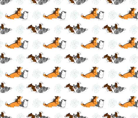Playful Cardigans in snow fabric by rusticcorgi on Spoonflower - custom fabric