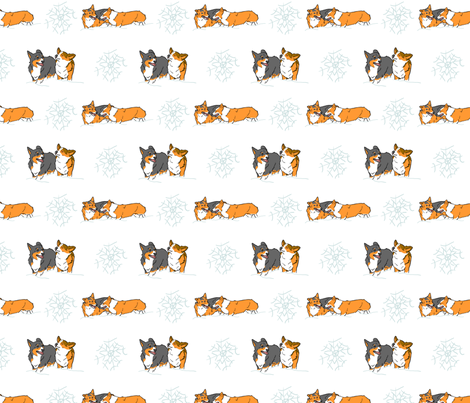 Playful Pembrokes in snow fabric by rusticcorgi on Spoonflower - custom fabric