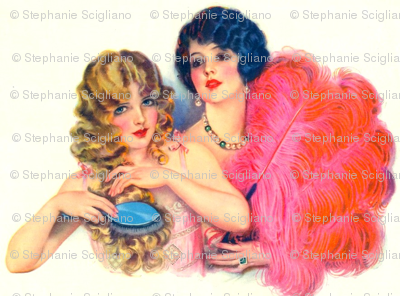 vintage beauties with pink feather fan