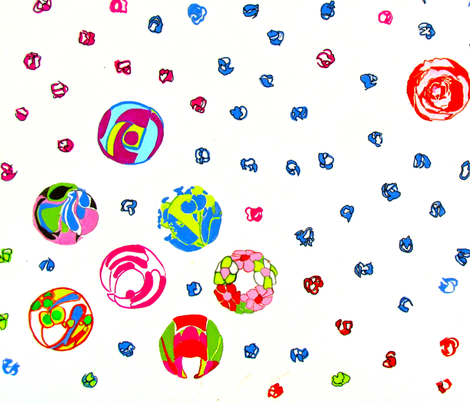 Raining Flower Marbles fabric by bettinablue_designs on Spoonflower - custom fabric