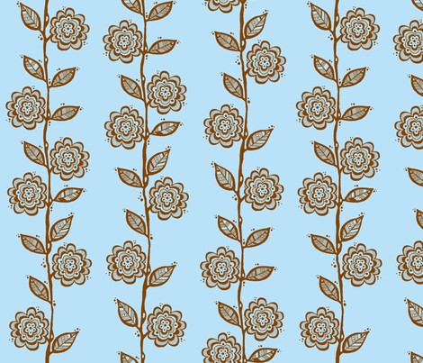 Vine Blue Brown fabric by toni_elaine on Spoonflower - custom fabric