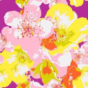 Pretty Bright Flowers on Fuschia