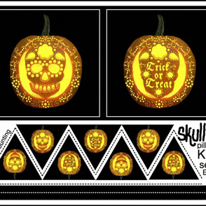 Skullie jack o' lantern pillow and bunting