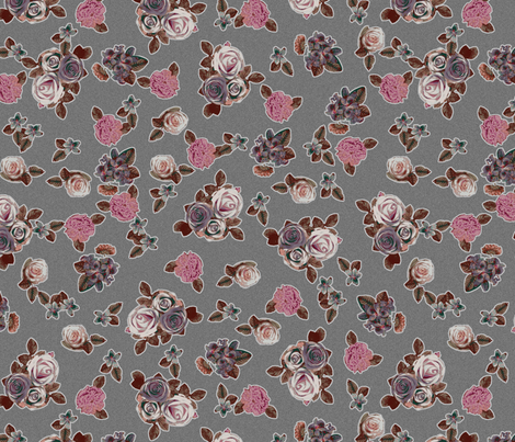Roses and pansies on gray fabric by ravynka on Spoonflower - custom fabric