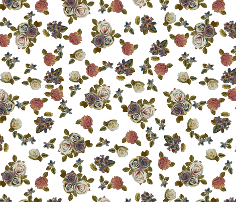 Roses and pansies on white fabric by ravynka on Spoonflower - custom fabric