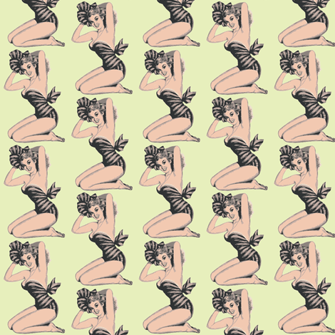 Striped Pin Up on Palest Green fabric by olivemlou on Spoonflower - custom fabric