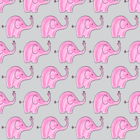 Pink Elephants on grey background fabric by toni_elaine on Spoonflower - custom fabric
