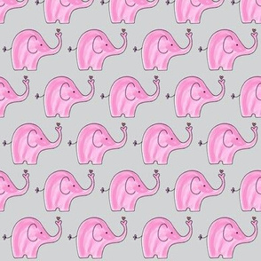 Pink Elephants on grey background