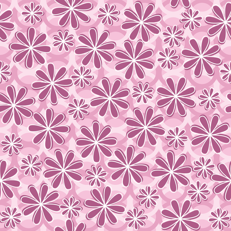 Retro Pink Flowers fabric by robyriker on Spoonflower - custom fabric