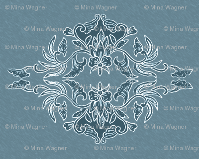 Traditional Batik Flower marine-blue small