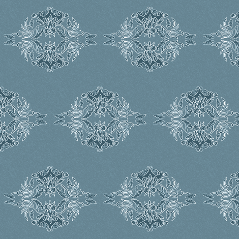 Traditional Batik Flower marine-blue small fabric by mina on Spoonflower - custom fabric