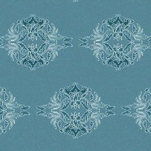Traditional Batik Flower marine-blue small