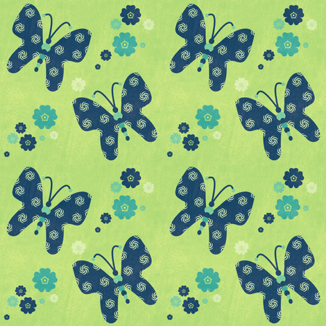 Butterflies & Flowers - Night Falls Softly - © PinkSodaPop 4ComputerHeaven.com fabric by pinksodapop on Spoonflower - custom fabric