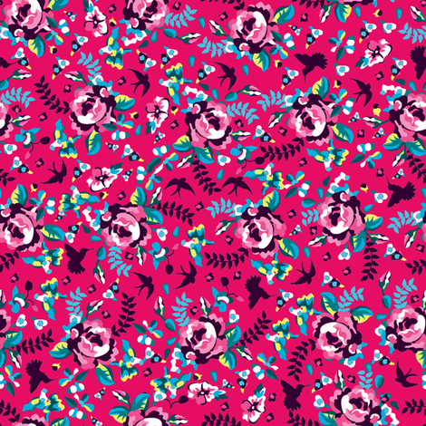 Summer florals pink fabric by danielle_b on Spoonflower - custom fabric
