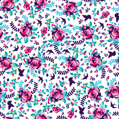 summer florals white fabric by danielle_b on Spoonflower - custom fabric