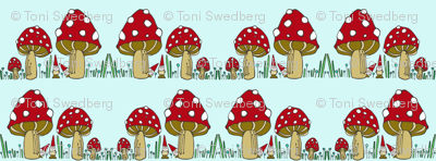 Mushrooms & Gnomes Horizontal Stripe