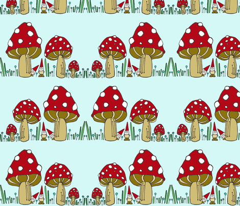 Mushrooms & Gnomes Horizontal Stripe fabric by toni_elaine on Spoonflower - custom fabric