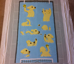 Puppies Playing Water Polo Whole Cloth Baby Quilt