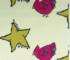 Star and Bird on Cream