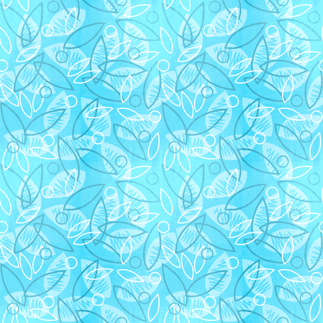 Sketchy Leaves (Blue) fabric by robyriker on Spoonflower - custom fabric